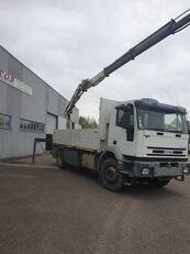 IVECO EUROTCH 240 CV 259000KM PLATEAU GRUE 14TM 10M DE PORTEE flatbed truck